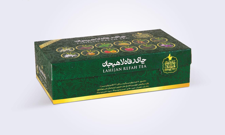 جعبه هدیه چای طعم دار کیسه ای رفاه لاهیجان
