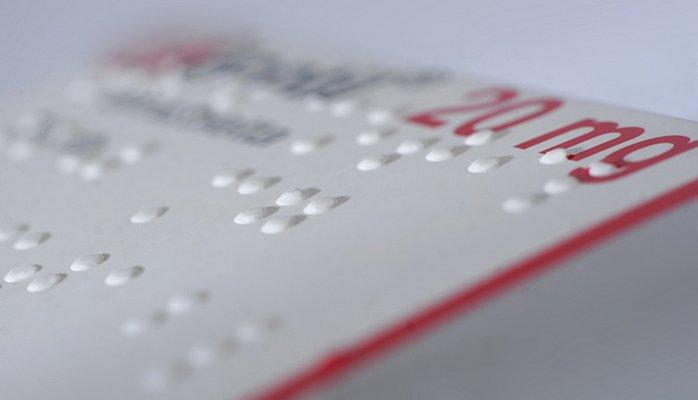 چاپ برجسته بریل جعبه دارویی